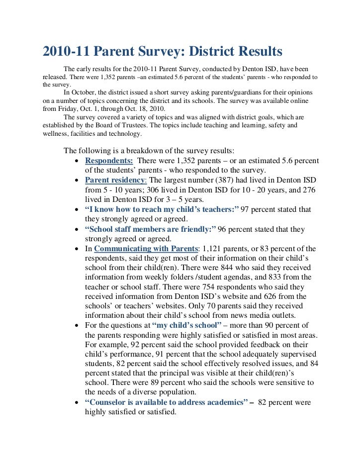 2010-11 Parent Survey: District Results       The early results for the 2010-11 Parent Survey, conducted by Denton ISD, ha...