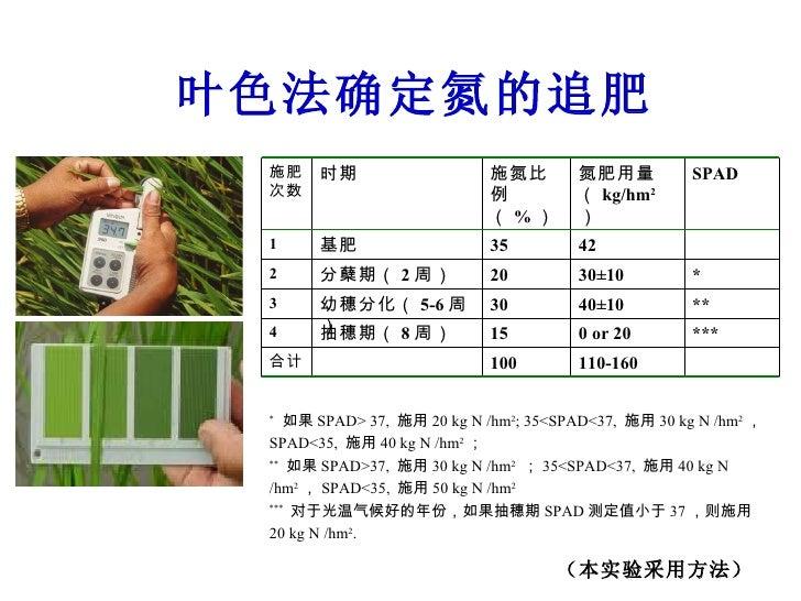 叶色法确定氮的追肥 *  如果 SPAD> 37,  施用 20 kg N /hm 2 ; 35<SPAD<37,  施用 30 kg N /hm 2 ,  SPAD<35,  施用 40 kg N /hm 2 ; **   如果 SPAD>3...
