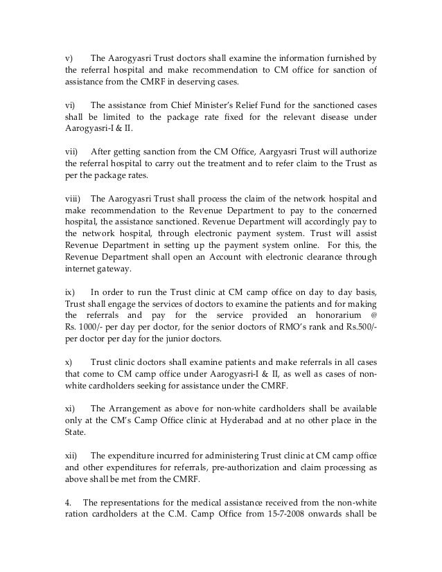 1012-REVENUE – Chief Ministers Relief Fund – Procedure for