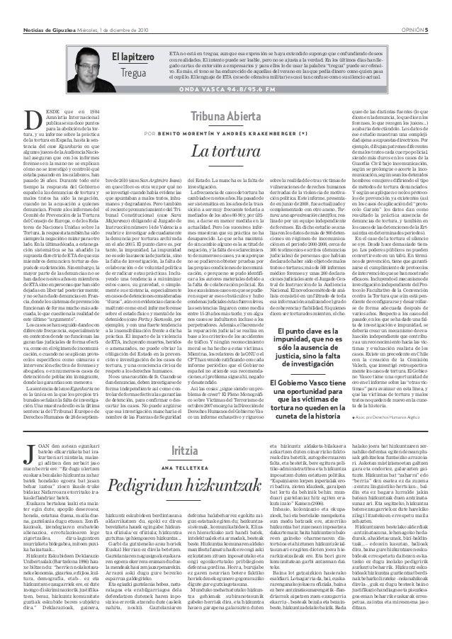 Noticias de Gipuzkoa Miércoles, 1 de diciembre de 2010 OPINIÓN 5 Iritzia A N A T E L L E T X E A Pedigridun hizkuntzak D E...