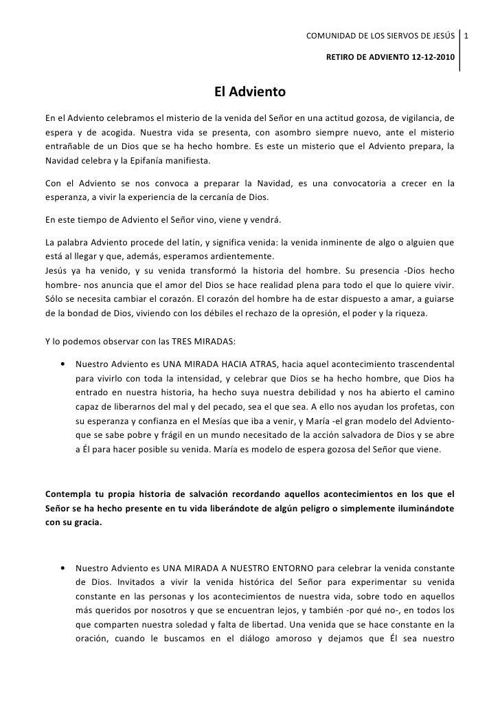 COMUNIDAD DE LOS SIERVOS DE JESÚS 1                                                                     RETIRO DE ADVIENTO...