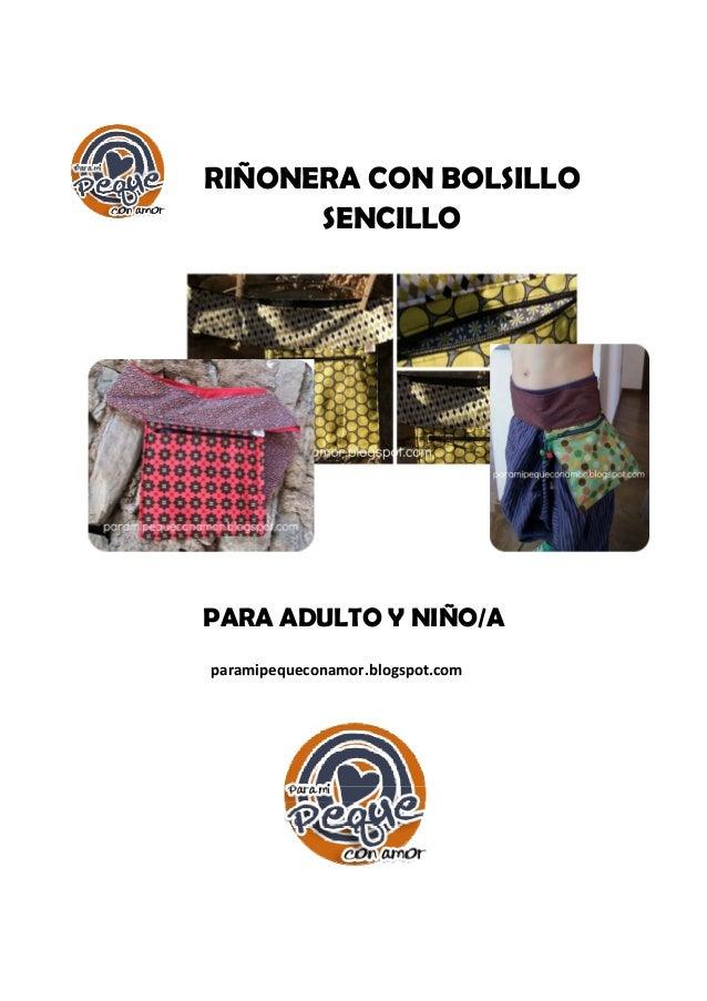 RIÑONERA CON BOLSILLO SENCILLO PARA ADULTO Y NIÑO/A  paramipequeconamor.blogspot.com
