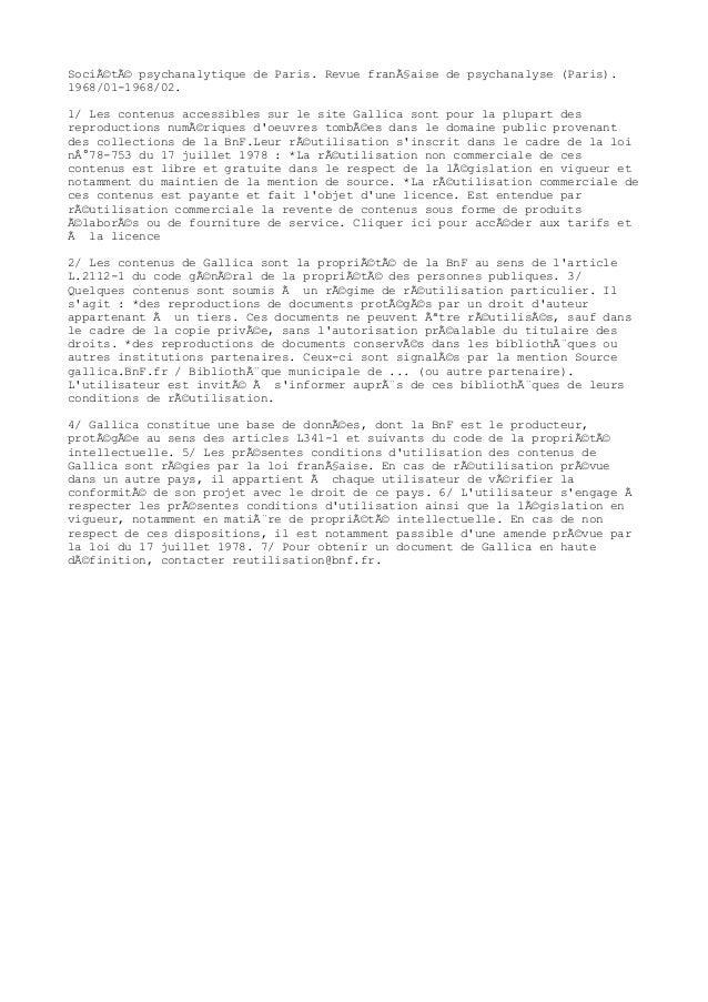 Société psychanalytique de Paris. Revue française de psychanalyse (Paris). 1968/01-1968/02. 1/ Les contenus accessibles...