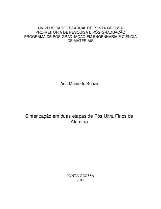 UNIVERSIDADE ESTADUAL DE PONTA GROSSA    PRÓ-REITORIA DE PESQUISA E PÓS-GRADUAÇÃOPROGRAMA DE PÓS-GRADUAÇÃO EM ENGENHARIA E...