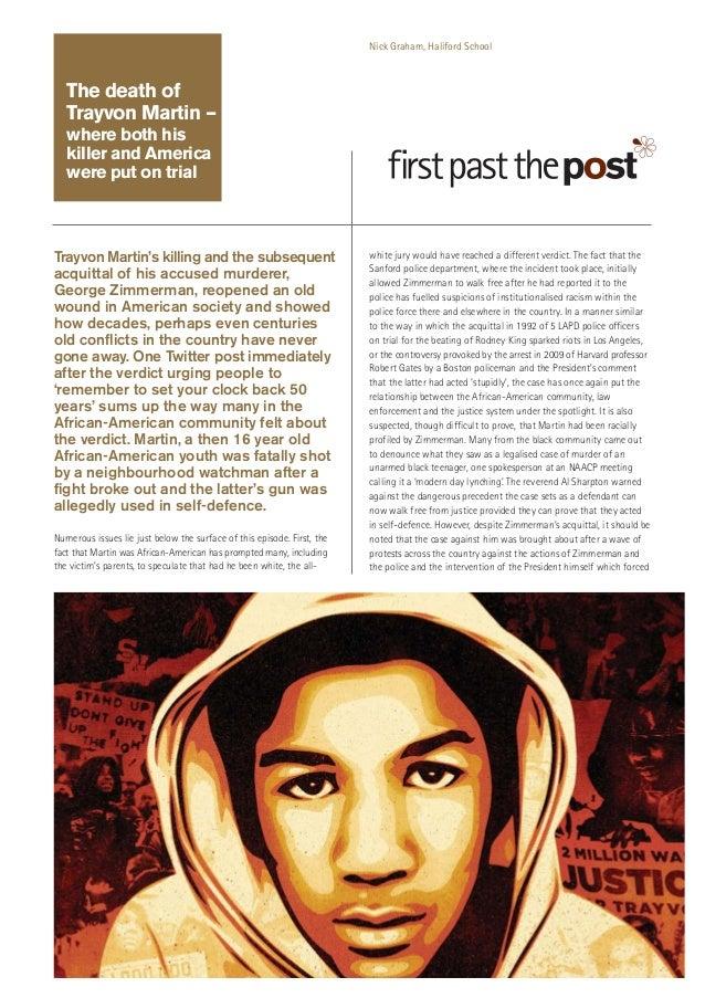 Nick Graham, Haliford School  The death of Trayvon Martin – where both his killer and America were put on trial  Trayvon M...