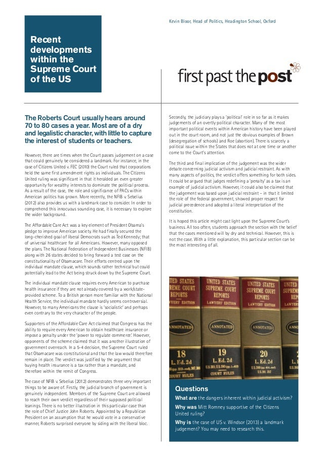 Kevin Bloor, Head of Politics, Headington School, Oxford  Recent developments within the Supreme Court of the US  The Robe...