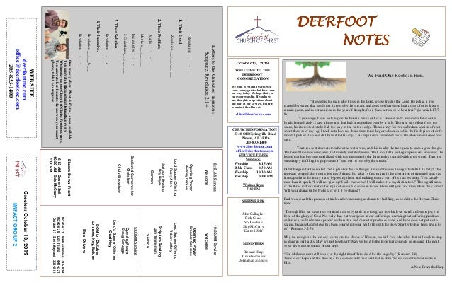 DEERFOOTDEERFOOTDEERFOOTDEERFOOT NOTESNOTESNOTESNOTES October 13, 2019 GreetersOctober13,2019 IMPACTGROUP2 WELCOME TO THE ...