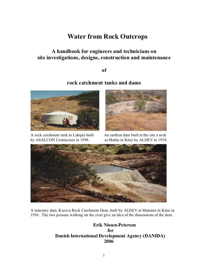 Water from Rock Outcrops           A handbook for engineers and technicians on    site investigations, designs, constructi...