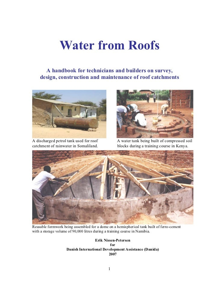 Water from Roofs      A handbook for technicians and builders on survey,    design, construction and maintenance of roof c...