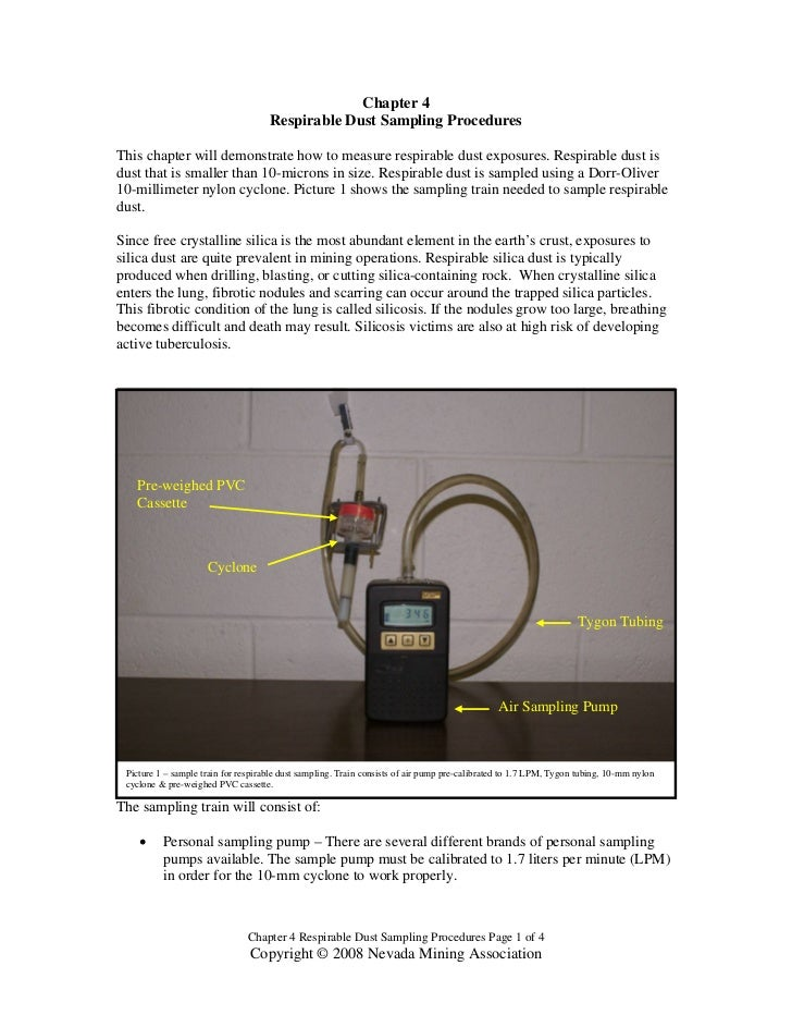 Chapter 4                                     Respirable Dust Sampling ProceduresThis chapter will demonstrate how to meas...