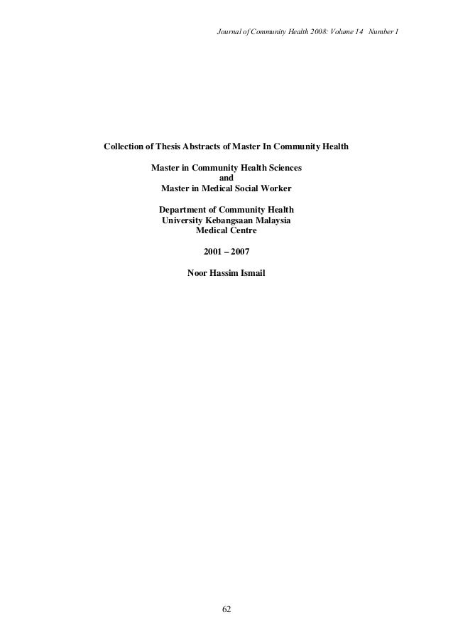Journal of Community Health 2008: Volume 14 Number 1 62 Collection of Thesis Abstracts of Master In Community Health Maste...