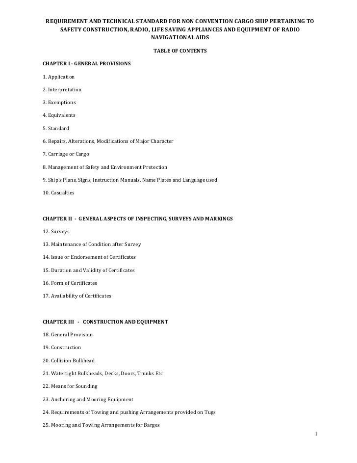 REQUIREMENTANDTECHNICALSTANDARDFORNONCONVENTIONCARGOSHIPPERTAININGTO        SAFETYCONSTRUCTION,RADIO,LIFESA...
