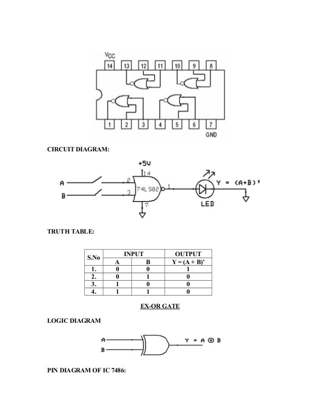 Pin Out Diagram Of Ic 7486 Electrical Wiring Diagrams
