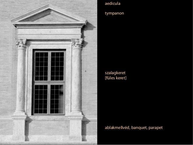 aedicula tympanon  szalagkeret [füles keret]  ablakmellvéd, banquet, parapet