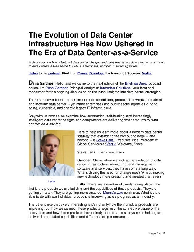 Page 1 of 12 The Evolution of Data Center Infrastructure Has Now Ushered in The Era of Data Center-as-a-Service A discussi...