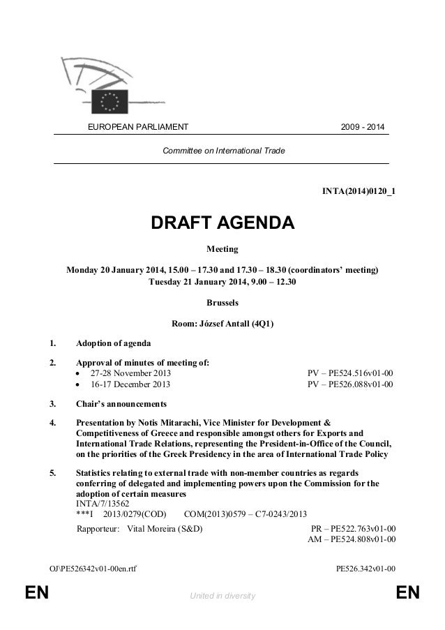 Draft Agenda for the next INTA meeting 20 21 January 2014