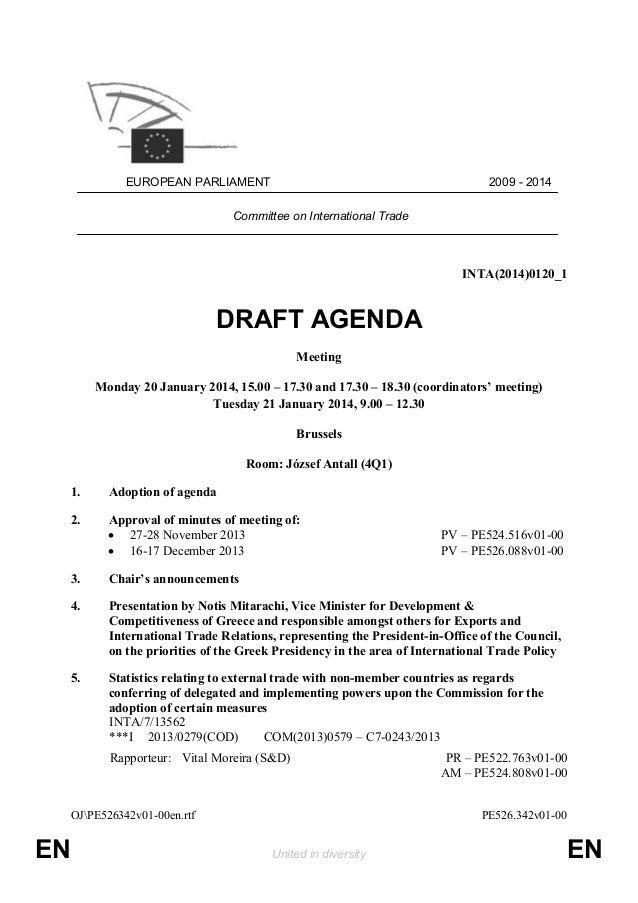Attractive EUROPEAN PARLIAMENT 2009   2014 Committee On International Trade  INTA(2014)0120_1 DRAFT AGENDA ... Ideas Draft Meeting Agenda