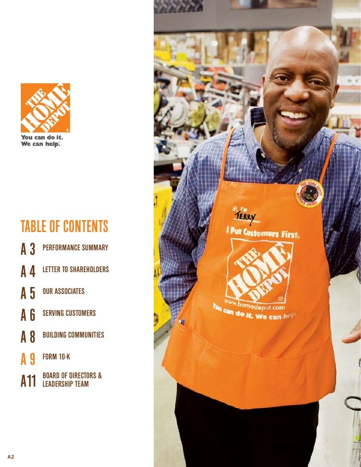 Home depot annual report project