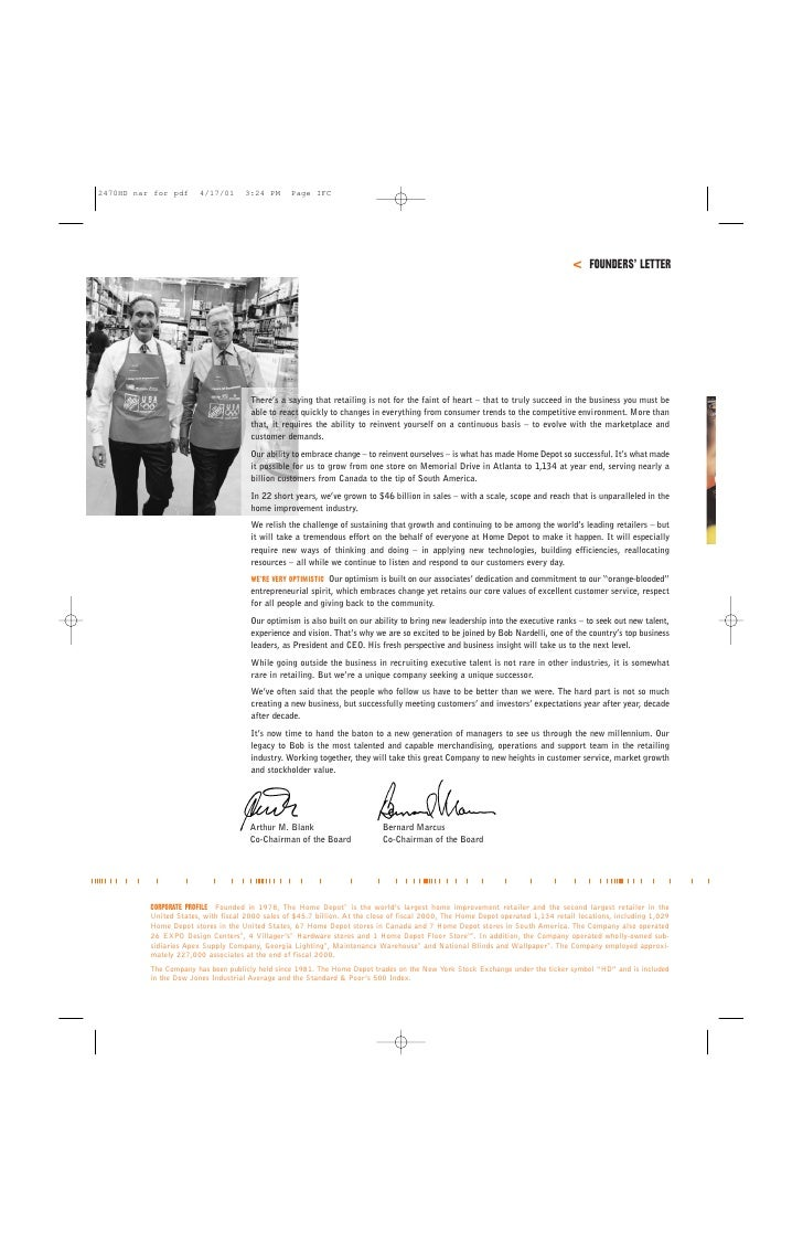 Home depot annual report 2000 1 istening the home depot annual report 2000 2 biocorpaavc