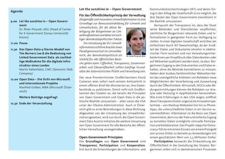 Let the sunshine in – Open Government                       Kommunikationstechnologen (IKT) und deren Ein-Agenda          ...