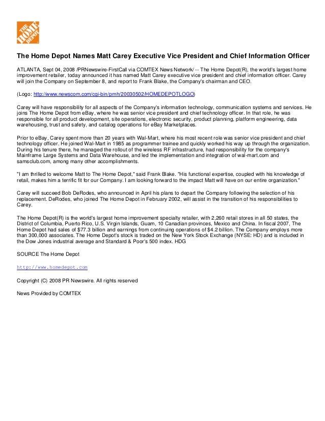 View Summary The Home Depot Names Matt Carey Executive Vice