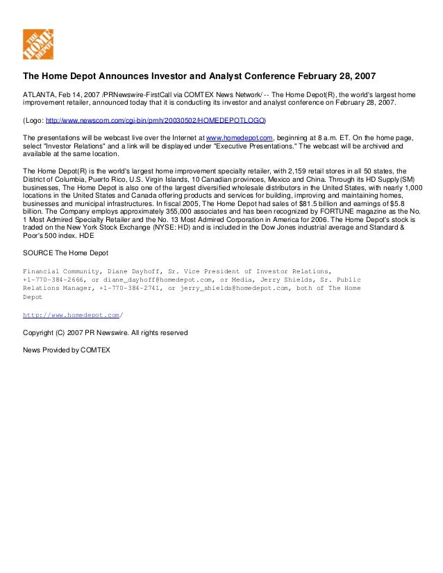 The Home Depot Announces Investor and Analyst Conference February 28, 2007 ATLANTA, Feb 14, 2007 /PRNewswire-FirstCall via...