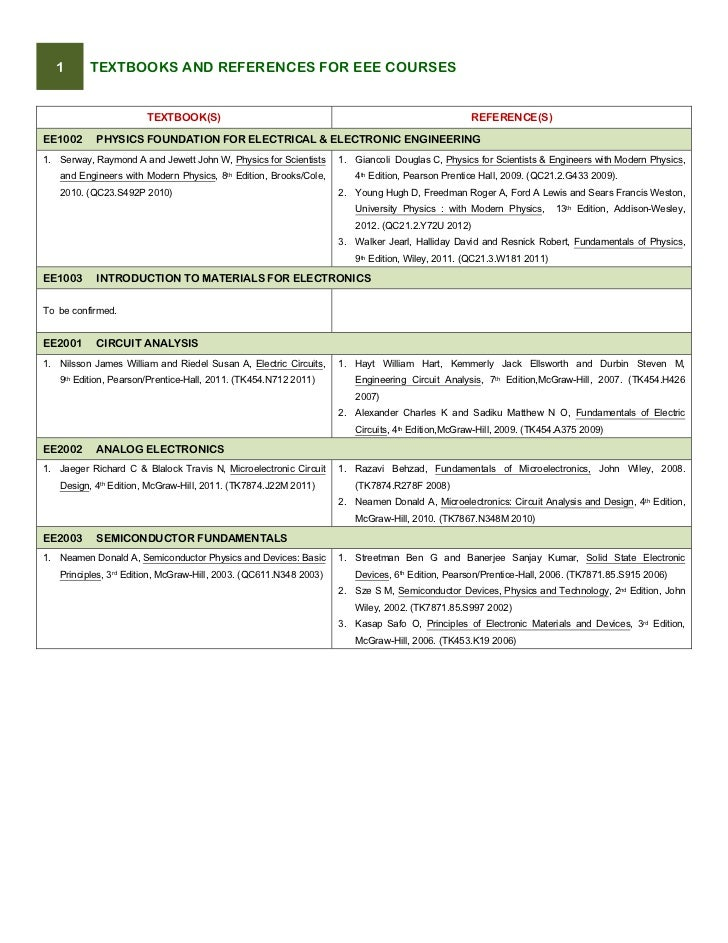 1     TEXTBOOKS AND REFERENCES FOR EEE COURSES                        TEXTBOOK(S)                                        ...