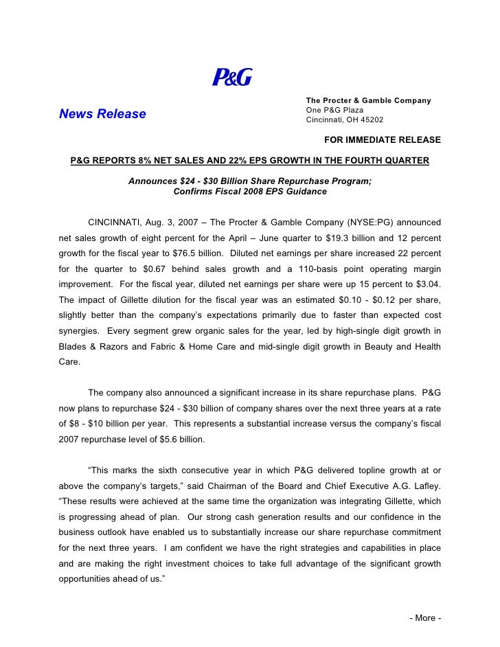 The Procter & Gamble Company                                                               One P&G Plaza News Release     ...