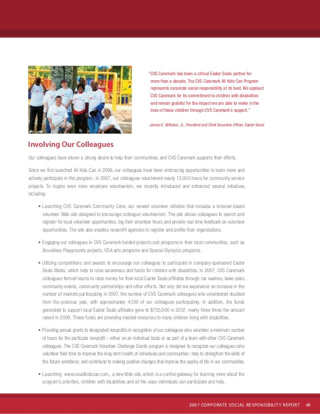 Cvs Caremark  Corporate Social Responsibility Report