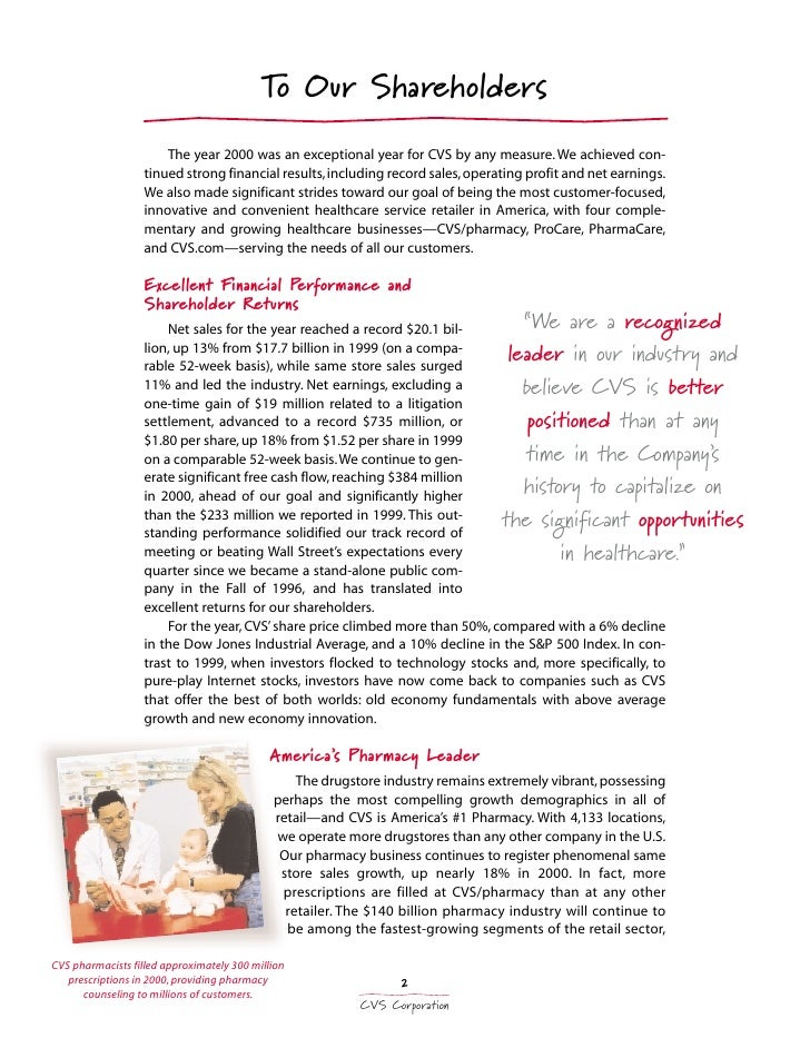 cvs annual report essay 1 2013 annual report cvs caremark is redefining the role that pharmacy can  play in improving health outcomes we're doing it by asking questions, and the.