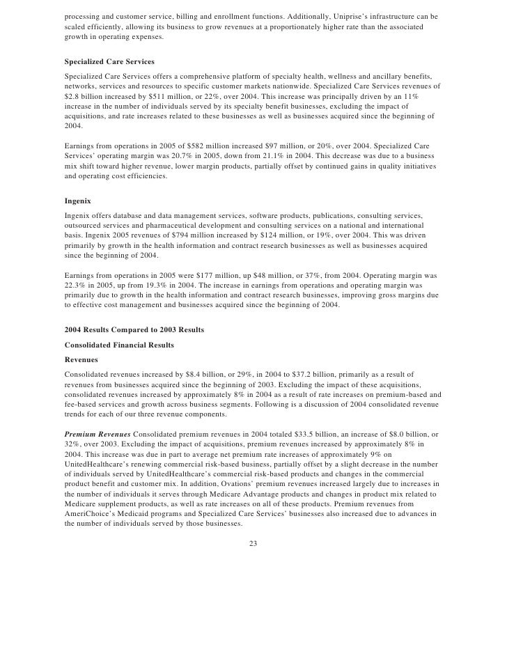 United Health Group Annual Report on Form 10-K