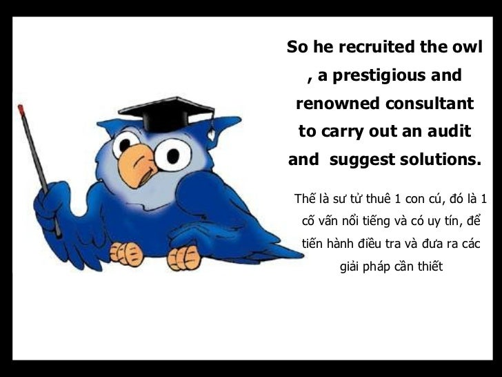 So he recruited the owl  , a prestigious and renowned consultant to carry out an auditand suggest solutions.Thế là sư tử t...