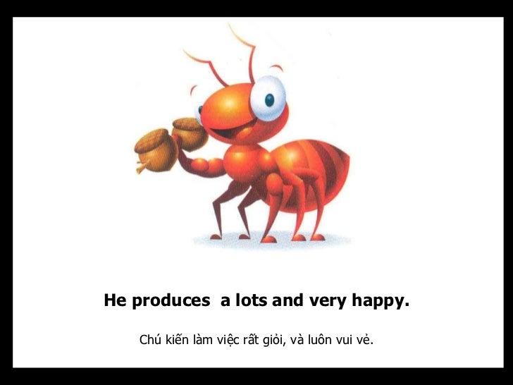 He produces a lots and very happy.   Chú kiến làm việc rất giỏi, và luôn vui vẻ.