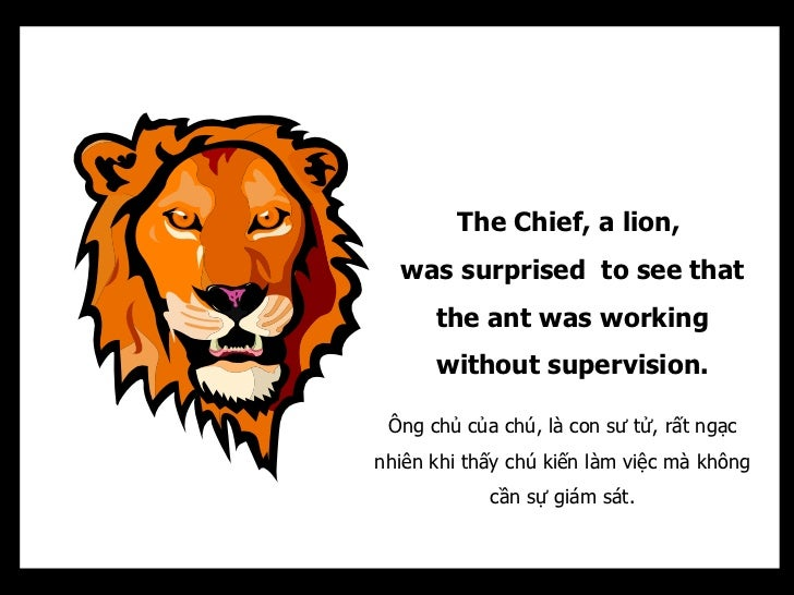The Chief, a lion,  was surprised to see that      the ant was working      without supervision. Ông chủ của chú, là con s...