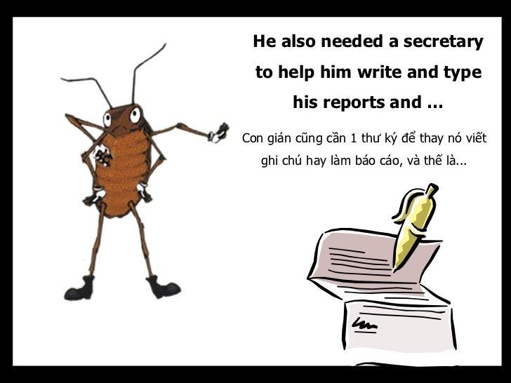 He also needed a secretary  to help him write and type        his reports and …Con gián cũng cần 1 thư ký để thay nó viết ...