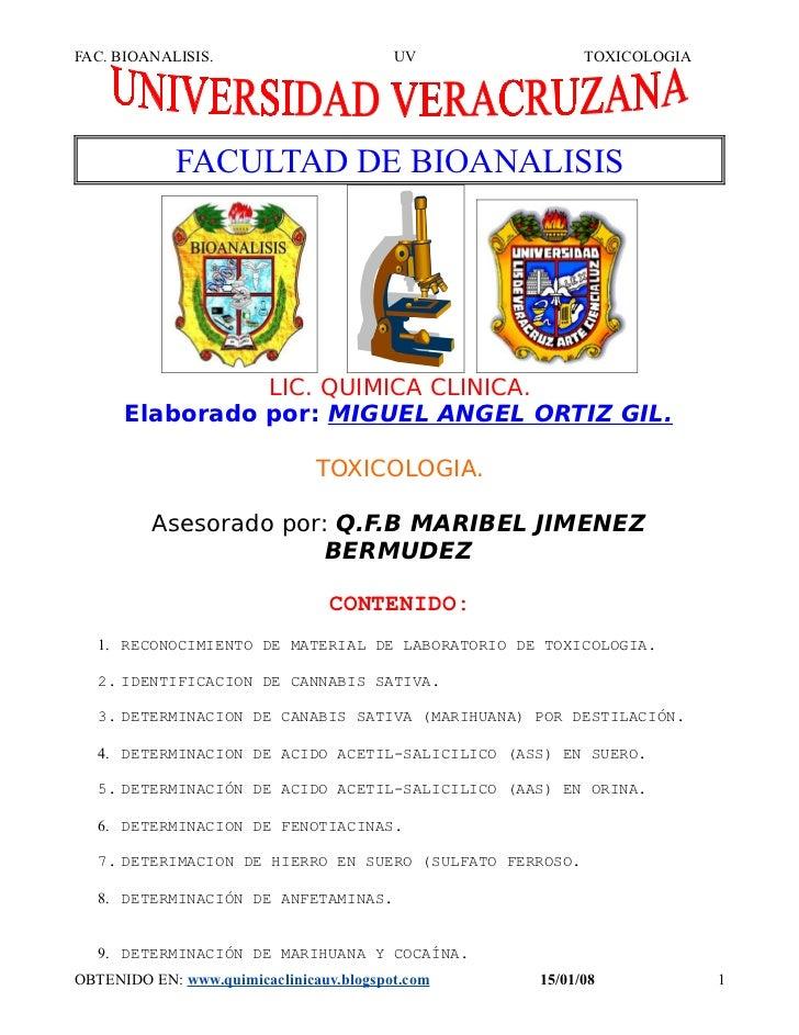 FAC. BIOANALISIS.                        UV               TOXICOLOGIA             FACULTAD DE BIOANALISIS                L...