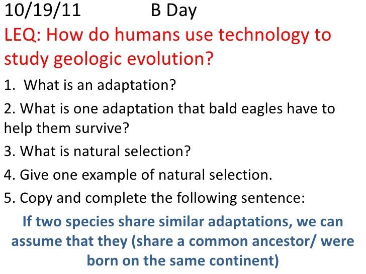 10/19/11         B DayLEQ: How do humans use technology tostudy geologic evolution?1. What is an adaptation?2. What is one...