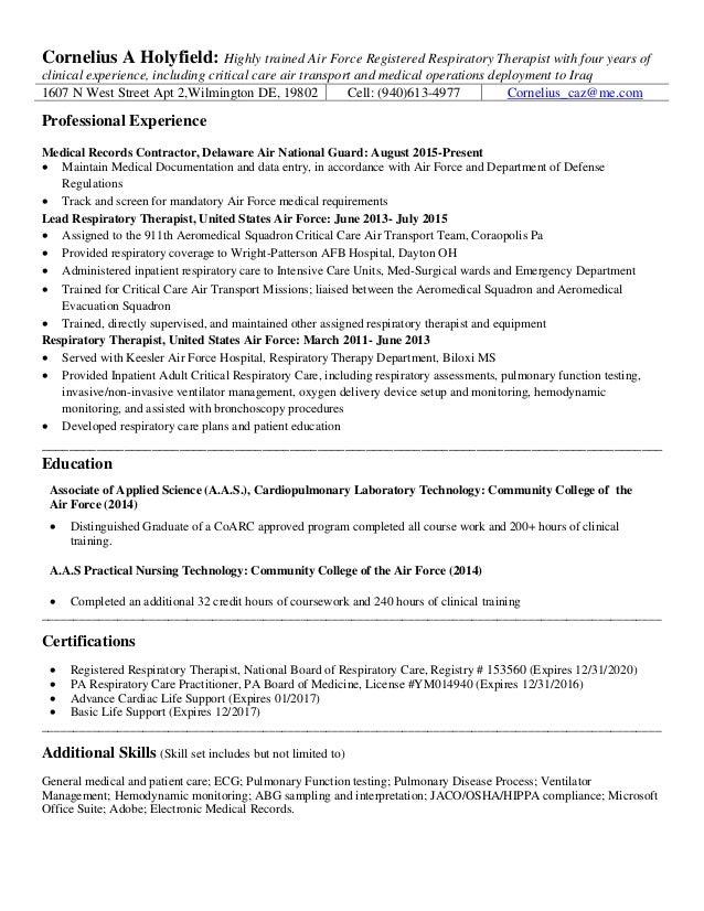 Exceptional Cornelius A Holyfield: Highly Trained Air Force Registered Respiratory  Therapist With Four Years Of Clinical Within Respiratory Therapy Resume