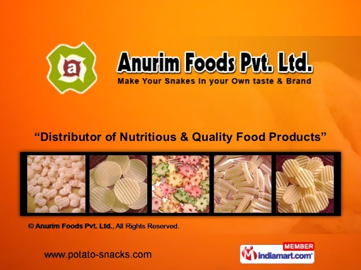 """ Distributor of Nutritious & Quality Food Products"""