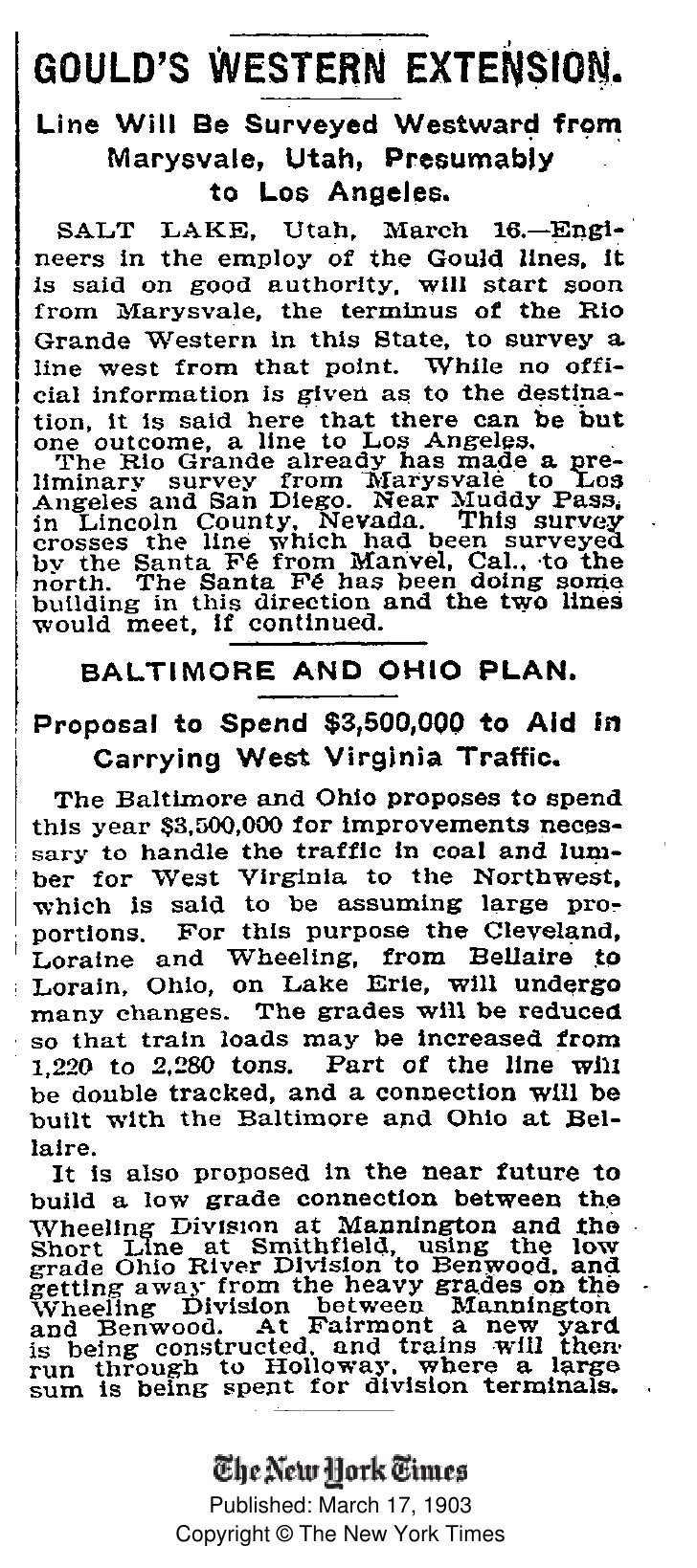 Published: March 17, 1903 Copyright © The New York Times