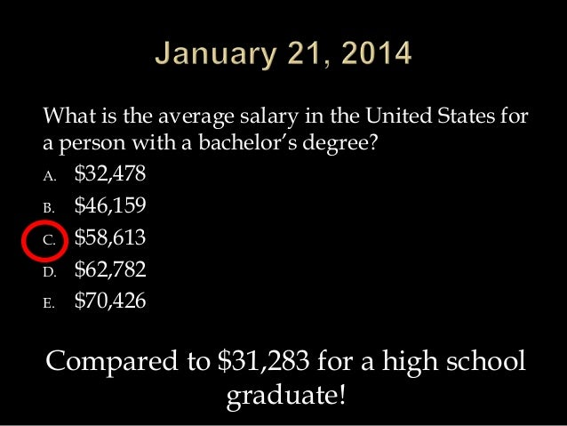 What is the average salary in the United States for a person with a bachelor's degree? A. $32,478 B. $46,159 C. $58,613 D....