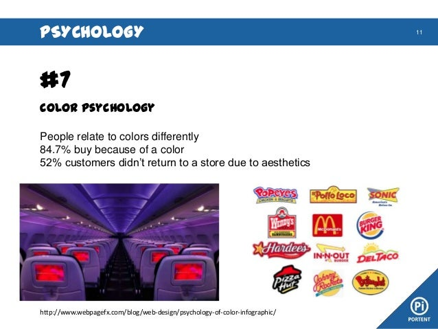 PSYCHOLOGY  #7 Color Psychology People relate to colors differently 84.7% buy because of a color 52% customers didn't retu...