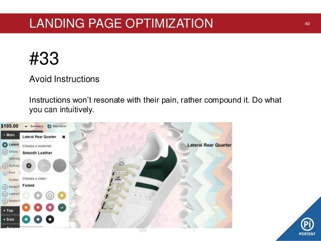 LANDING PAGE OPTIMIZATION  #33 Avoid Instructions Instructions won't resonate with their pain, rather compound it. Do what...