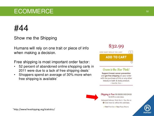 ECOMMERCE  #44 Show me the Shipping Humans will rely on one trait or piece of info when making a decision. Free shipping i...