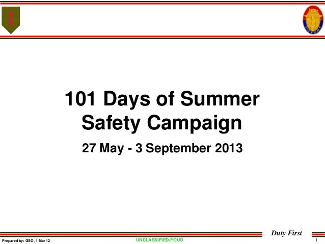 UNCLASSIFIED/FOUO 1Duty FirstPrepared by: GSO, 1 Mar 12101 Days of SummerSafety Campaign27 May - 3 September 2013