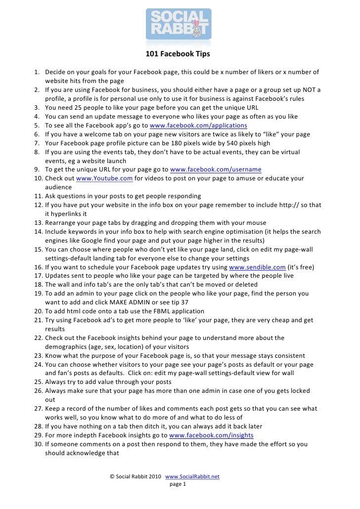 101 Facebook tips