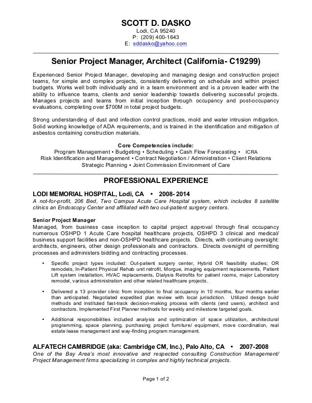 scott d dasko lodi ca 95240 p 209 400 1643 sr project manager. Resume Example. Resume CV Cover Letter