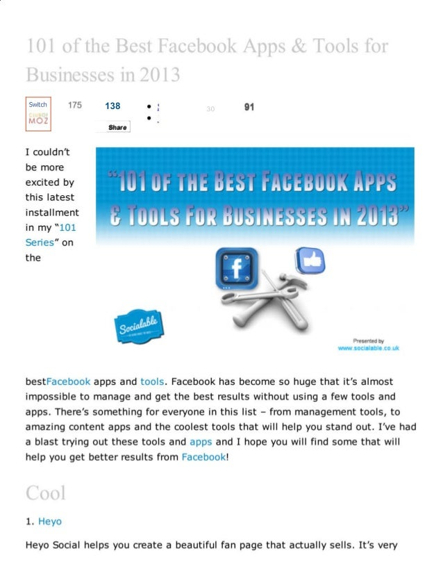 101 of the best facebook apps and tools for business in 2013