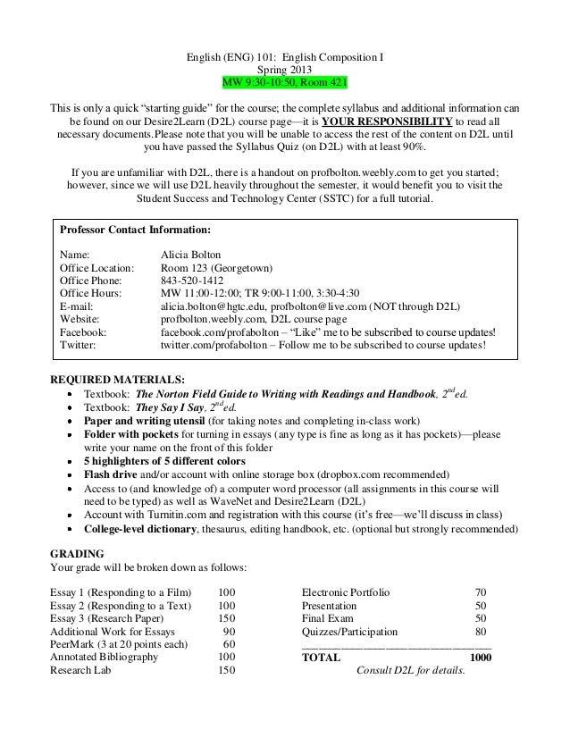 English (ENG) 101: English Composition I                                            Spring 2013                           ...