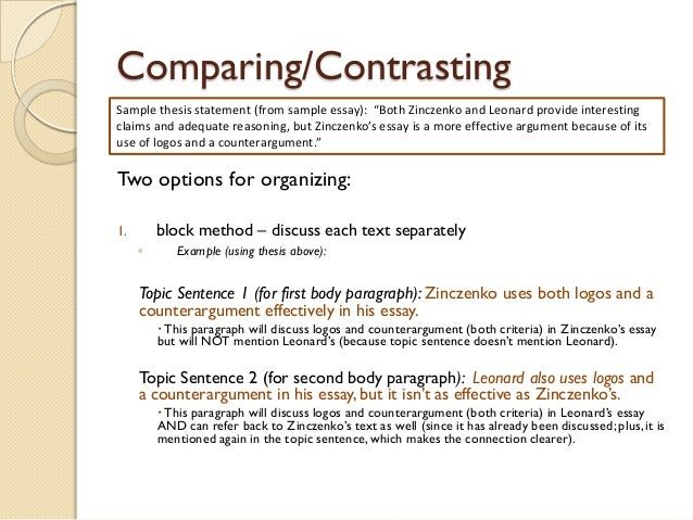 compare and contrast essay using mla